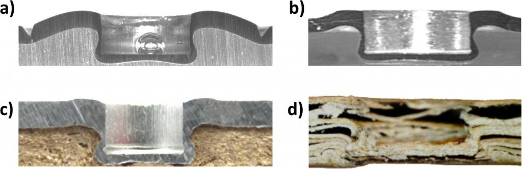 Abbildung 3:Multimaterialdesign: a) Stahl-Aluminium, b) Aluminium-Polystyrol, c) Aluminium-MDF (mitteldichte Faserplatte), d) Kartonage-Kartonage