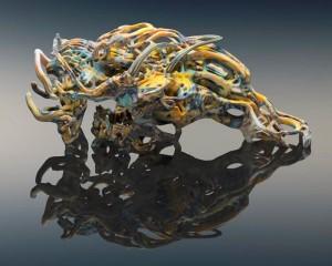 Wolfkiam von Nick Ervinck, hergestellt mit dem neuen 3D-Multifarb- und Multimaterialdrucker J750 von Stratasys (Foto: Yoram Reshef)