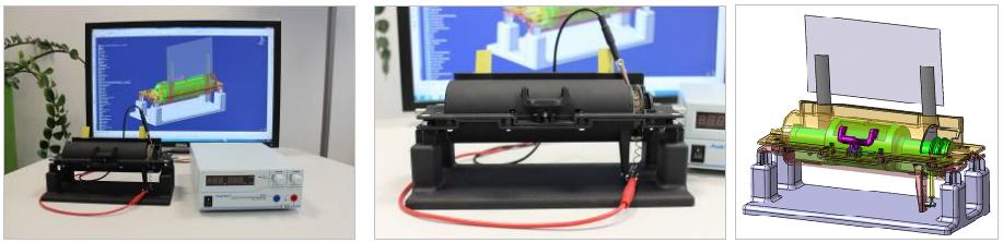 Angeregt von den Konzeptergebnissen der beiden Abschlussarbeiten zu den Themen FGL und OLED, hat csi inzwischen ein Konzept weiterverfolgt und einen funktionsfähigen Prototyp gebaut: Ein Folien-OLED-Display (FOLED) wird über eine mit FGL angetriebene Rolle ausgerollt. Ziel der csi-Technologen ist es, die Vorteile beider Technologien in naher Zukunft im Fahrzeug nutz- und erlebbar zu machen.