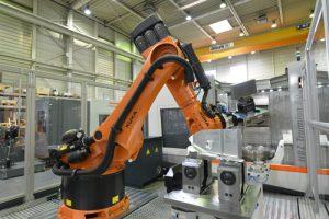 Der VDW hat einen flexibel anwendbaren Standard formuliert, mit dem Roboter oder andere Werkstück-Trägersysteme einfach in ein Fertigungssystem integriert werden können. Quelle: Handtmann A-Punkt Automation GmbH, Baienfurt