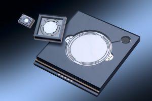 Hermetisch verkapselte 2D-MEMS-Scanner als Bestandteil des InBus-Projekts. (Quelle: Fraunhofer ISIT)