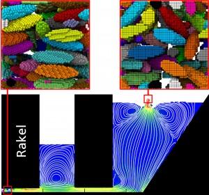 Unten – makroskopische Simulation: Stromlinien während des Gießprozesses, bei dem der Keramikschlicker rechts eingefüllt wird und links unten als Folie den Gießkasten verlässt. Oben – mikroskopische Simulation: Ausrichtung der Keramikpartikel an zwei Stellen im Prozess. © Fraunhofer IWM