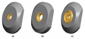 Abbildung 3: Verwendete Niederhalterkonturen; a) Kantenradius; b) Ringzacke; c) Materialflussbegrenzer