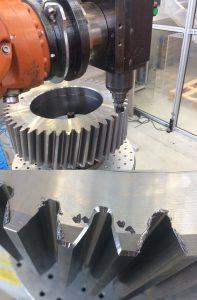 Zahnradbearbeitung mit Industrieroboter