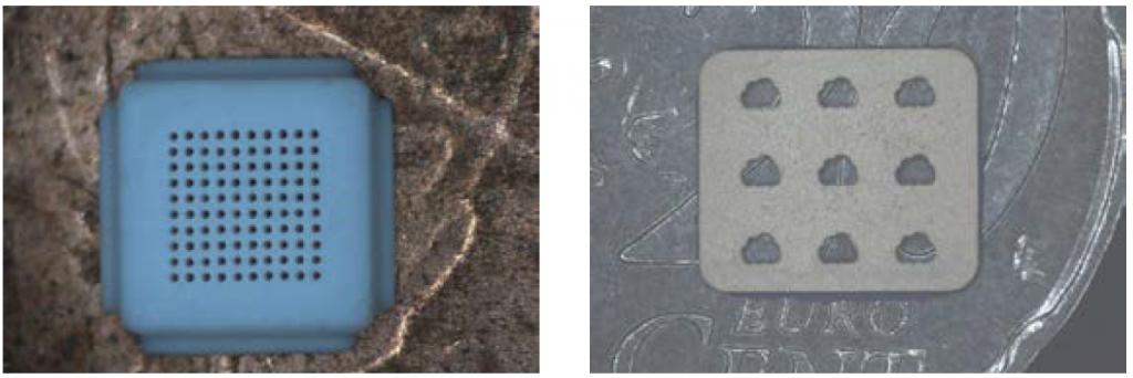 Abbildung 6: Laserbohren in Keramik: Links: Mikrobohrungen mit 100 µm Bohrdurchmesser in Aluminiumoxid; Rechts: Freiformbohrungen in Zirkoniumoxid. Hintergrund Cent Geldstück