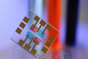 Organische Lichtsensoren mit farbselektiver Detektion, die durch Tintenstrahldruck mit halbleitenden Tinten hergestellt werden.
