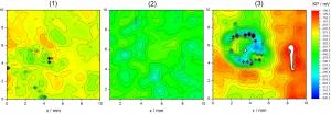 Abb. 5: Kelvin-Potenzial-Verteilungen an Zinkstaub-Grundbeschichtungen: Konv. Zn-Staub-GB (1), Zink-Flake-GB (2) und Zink-Staub/Zink-Flake-GB (Bild: Fraunhofer IPA)