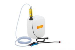 Für Desinfektionsaufgaben mit begrenztem Radius ist ein 20 l Kanister-Pumpenset ideal geeignet (Urheber: CEMO)