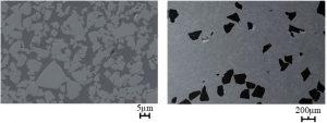 Abbildung 1. Mikrostrukturen von Hartmetall (links) und CBN-Verbundstoff (rechts) dargestellt, wobei die unterschiedlichen Maßstäbe zu beachten sind.