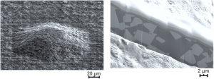 Abbildung 5. Oberflächeninspektion und Querschnittsanalyse einer Pyramide