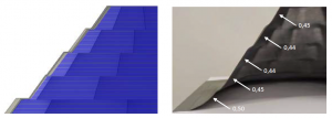 Abbildung 2: Blechteil DC06 im Halbschnitt. Links: Verfahrwege CAM. Rechts: fertig gedrücktes Blech