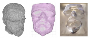 Abbildung 3: Von links nach rechts: Dreidimensionaler Körper nach Fotogrammetrie, bearbeiteter Netzkörper, fertig gedrücktes Werkstück (AlMg3) s0=2mm