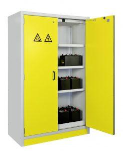 Bild 2: Akku-Sicherheitsschrank zum Laden und Lagern von Lithium-Ionen-Akkus direkt am Arbeitsplatz (Urheber: CEMO)