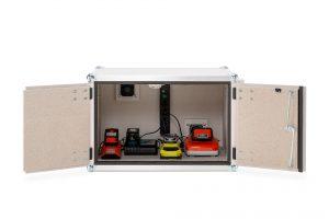 Bild 3: Kompakte Akku-Ladeschränke für Werkzeug- und sonstige Kleinakkus mit Alarmierung im Brandfall (Urheber: CEMO)