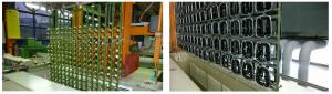 Abb. 1 und 2 zeigen Metall- und Kunststoffteile, die in Gestelltrocknern innerhalb der vorgegebenen Taktzeiten vollständig und schonend getrocknet werden