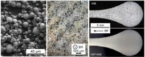 Abbildung 1: a) Sekundärelektronenbild des 17-4PH Pulvers, b) geätztes Gefüge nach Sinterung BR=x/Baurichtung, Schliff durch Zugproben nach H900 Wärmebehandlung (WB) sowie nach HIP+WB