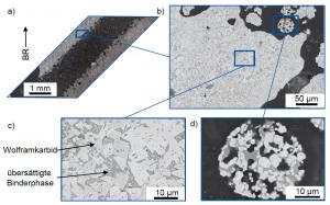 Abbildung 3: a) Lichtmikroskopische Aufnahme eines Kühlkanals in einem WC-Co Volumenkörper hergestellt mit LPBF, BR: Baurichtung, b) Rasterelektronische Aufnahme im Randbereich des Kühlkanals, c) WC-Co Gefüge nach dem LPBF Prozess, d) WC-Co Pulverpartikel nach dem LPBF Prozess