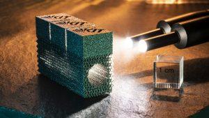 Bauteil aus Wolfram, hergestellt im 3D-Druck mit dem Verfahren des Elektronenstrahlschmelzens (Foto: Markus Breig, KIT)