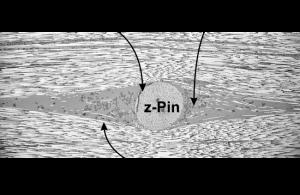 Abbildung 3 Horizontalschliff eines z-Pin verstärkten Laminates mit 0,5 mm z-Pins