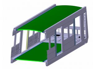 Bild 4: Typischer Wagenkastenaufbau einer Metro mit durch Sandwichstruktur gebildetem Boden- und Dachbereich
