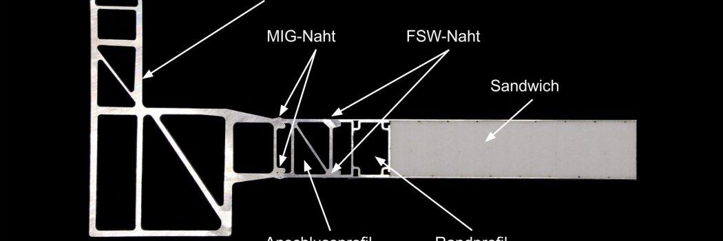 Leichte Wagenkasten für Schienenfahrzeuge durch Integration von deckschichtverschweisster Sandwichpanelen