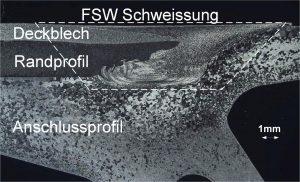 Bild 3: Herausforderung FSW-Naht über 3 Bauteile (Deckblech, Rand- und Anschlussprofil)