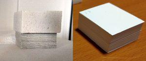 Abbildung 5: Grünkörper (hochgefülltes  Spezialpapier) im Sinterofen vor der  Temperaturbehandlung unter Beschwerung [links], gesintertes Inlay aus papierabgeleiteter Keramik nach dem Sintern [rechts]
