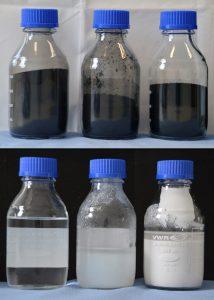 © Fraunhofer IBP Oben, Primärprodukt von links nach rechts: Roh-rCB, Clean rCB (96+), perliertes Clean rCB (96+). Unten, gewonnene Sekundärprodukte aus der Asche von links nach rechts: »Wasserglas«, gefälltes SiO2, gefälltes ZnSO4.